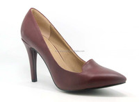 New design wine red pu meterial dress shoes for women