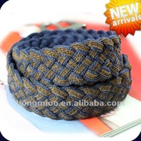 * Vogue Thick And Solid Genuine Leather Cotton Woven Braided Belt*