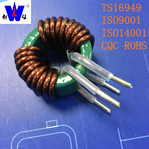 High current and high frequency leaded common mode choke 15UH