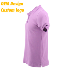 Customised Promotion Plain CVC Short Sleeves men Purple Polo Shirt