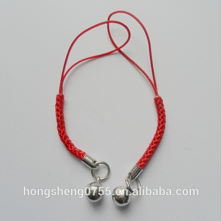 Wholesale price Promotional mobile phone carrying strap with metal bells