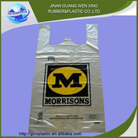 Custom logo printed plastic hdpe suppermarket t-shirt bags on roll