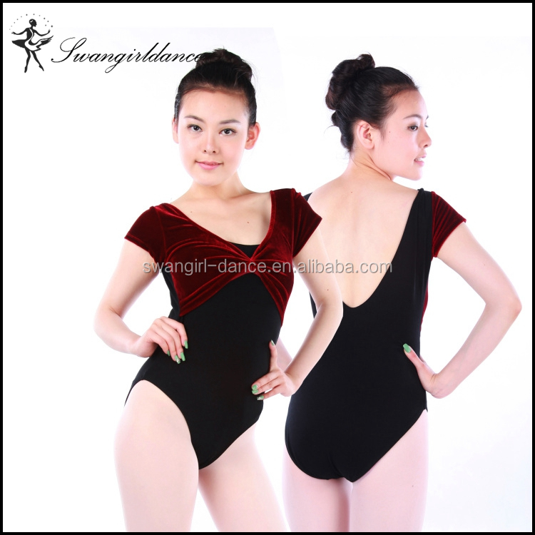 hot sale short sleeve V-back training gymanstics ballet dance leotards with velvet