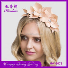 Top grade decorative girl PU flower leather headband