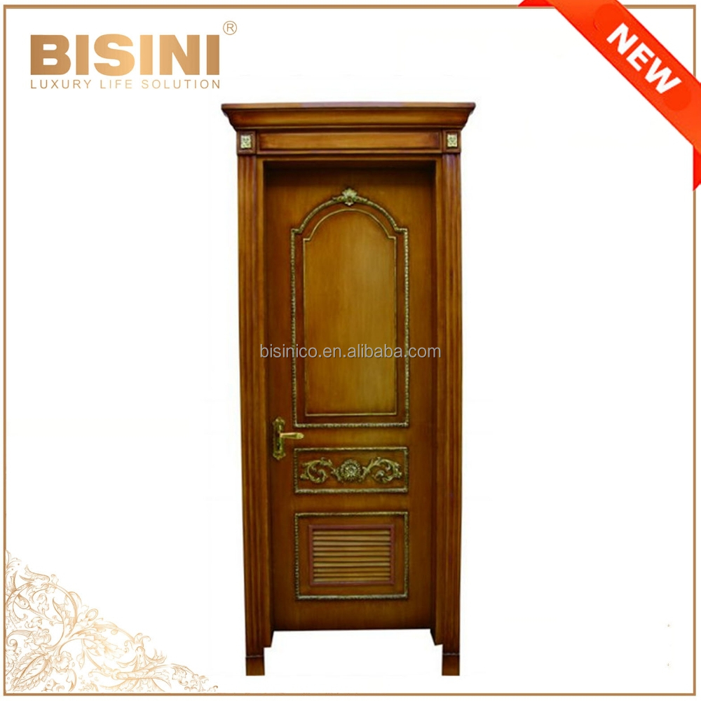 French Baroque Style Solid Wood Hand Carved Single Interior Door/ High Quality Classic Decorative Swing Timber Door