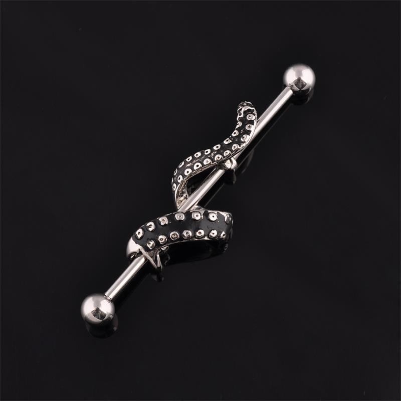 Tentacle wrapped 14g industrial piercing barbell earrings wholesale