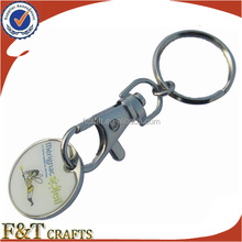 supermarket cart pound trolley token coin keyring with custom printing logo