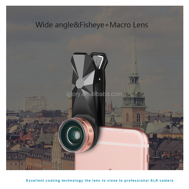 2017 Universal mobile phone 3 in 1 fisheye macro wide angle lens with clip 2016 newest gadgets for iphone camera lens