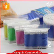 100 pcs hot sale plastik tongkat telinga cotton buds/penyeka kapas