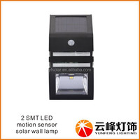 wholesale drop shipping 2 LED motion sensor solar PIR light solar led outdoor wall light