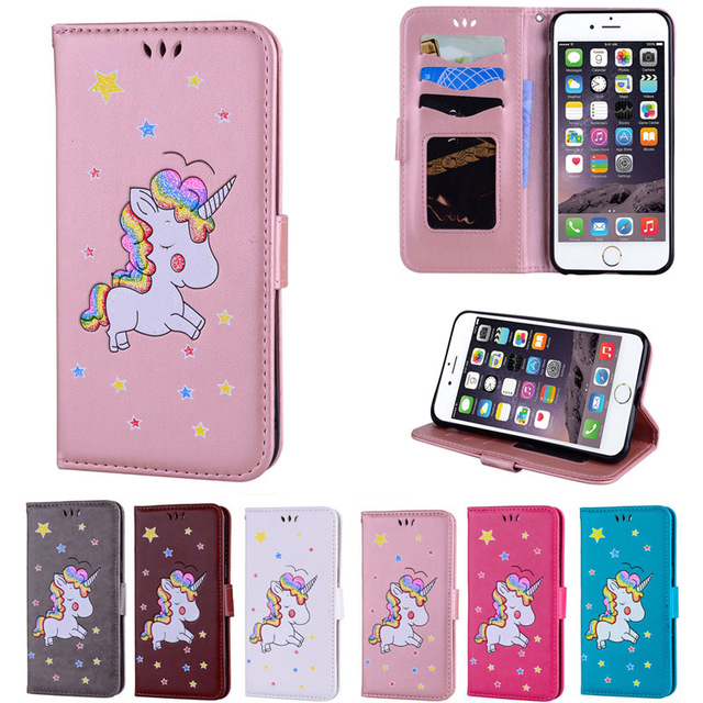 Rainbow Unicorn Glitter Leather Case For iPhone X 8 7 7Plus Flip Wallet Stand Cover for iPhone 6 6S Plus 5 5S SE &iPod iTouch5 6