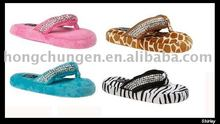 Lady's fashion Thong Sandal indoor slipper use with giraffe and zebra-stripe printing