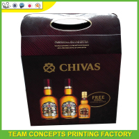 Hot selling luxury wine packaging box 6 bottle wine cardboard bottle carrier