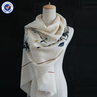 Wholesale Small Order Gift Order Jacquard Chinese Traditional Painting Silk Wool Scarf SWW791
