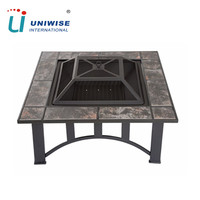 Square Outdoor Ceramic Tile Top Fire Pit
