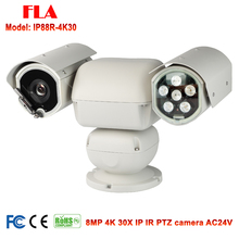 8MP 3840 x 2160 Super HD PTZ 4K IP Camera Outdoor 30X Optical Zoom 100M IR Night Vision 6-180mm Varifocal Lens IP66