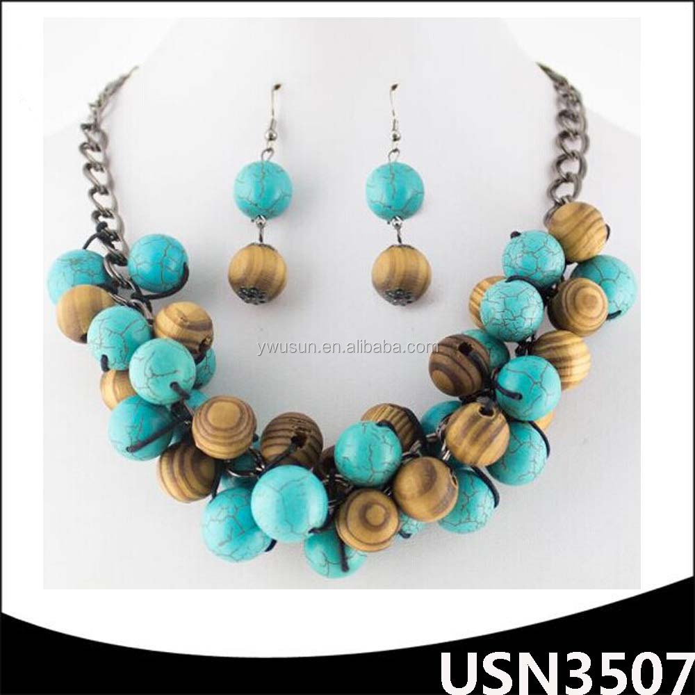 fashion jewelry coral beads necklace jewelry set Charm Chunky Bubblegum wood beads necklace