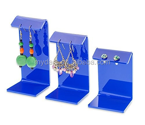 Modern style blue acrylic jewellery earring display stand manufacturer China