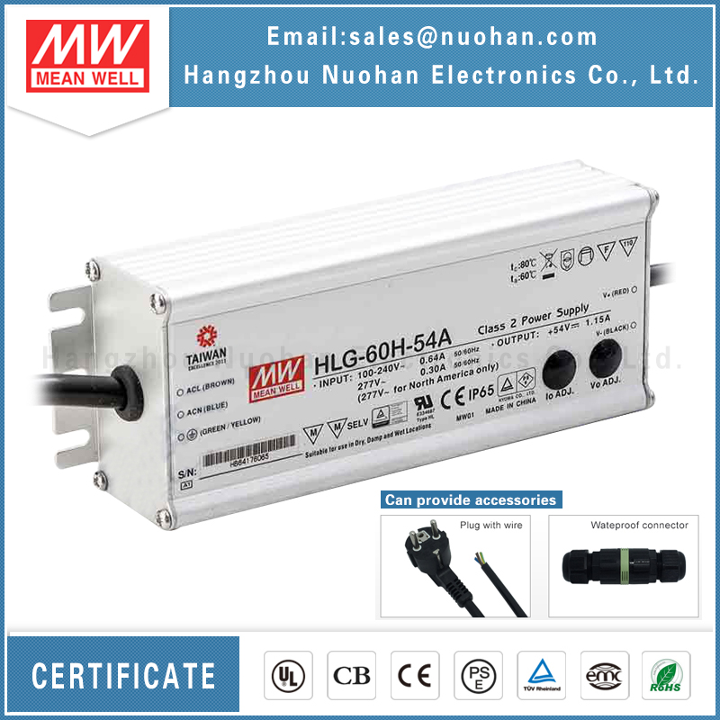 IP67 meanwell 60w 54v switching power supply power/dimmable led driver/60w waterproof led driver