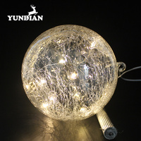 Factory sale high class 200mm large led glowing christmas glass balls