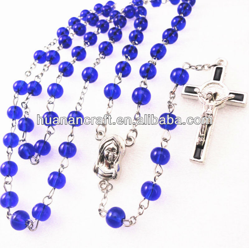 blue glass round bead rosary ,religious glass necklace