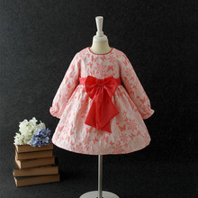 Latest Beautiful Children Long Sleeve Frocks Designs Baby Girl Winter Dresses Red casual children clothes