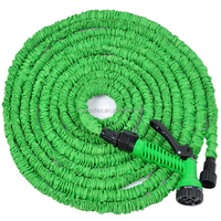 Expandable Garden Hose with Brass Fitting 8 Pattern Spray Nozzle