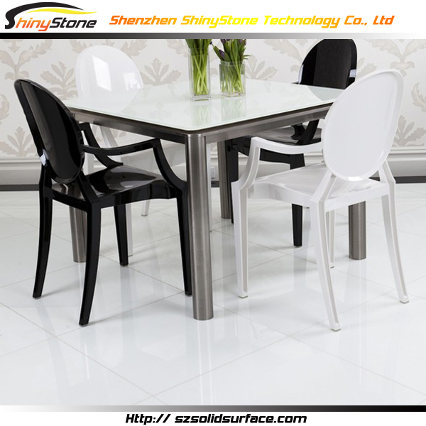 Super long luxury 2100 900mm designer white acrylic solid for 10 seater marble dining table