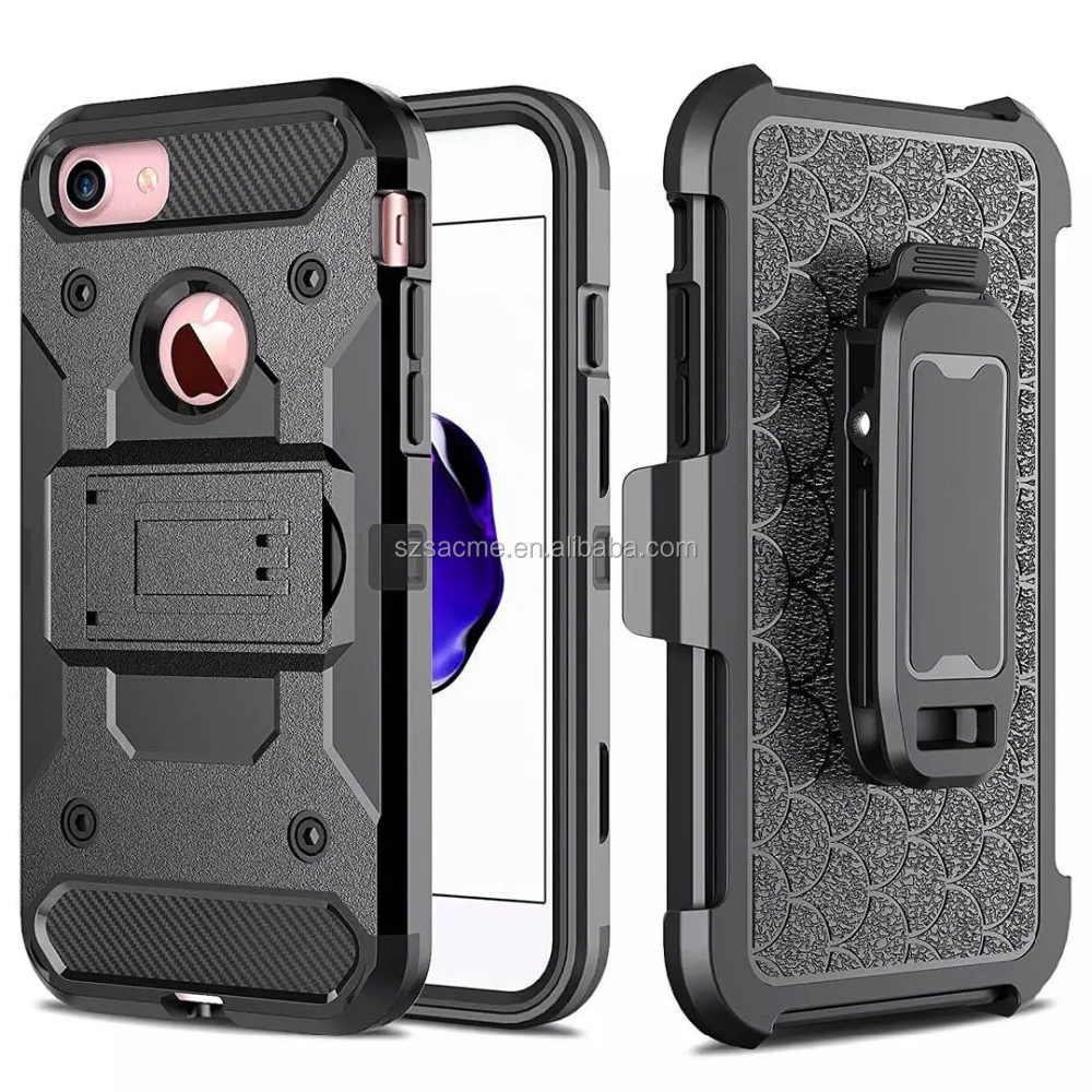 3 in 1 Hybrid Rugged Armor Combo Belt Clip Holster Phone Case For Iphone 6 6s