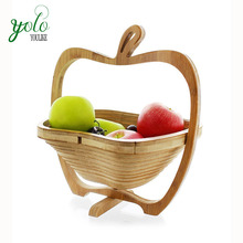 Creative Apple Shape Folding Bamboo Fruit Basket