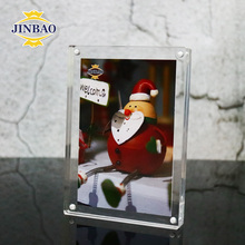 JINBAO Cheap Double Acrylic Frameless Baby Photo Picture Frame Free Standing