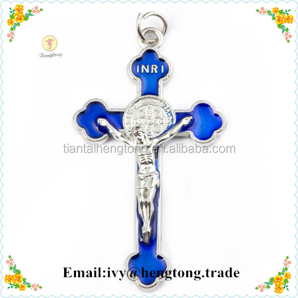 Religious gifts enamel hanging alloy cross pendant, necklace jewelry accessories, wholesale simple retro religion