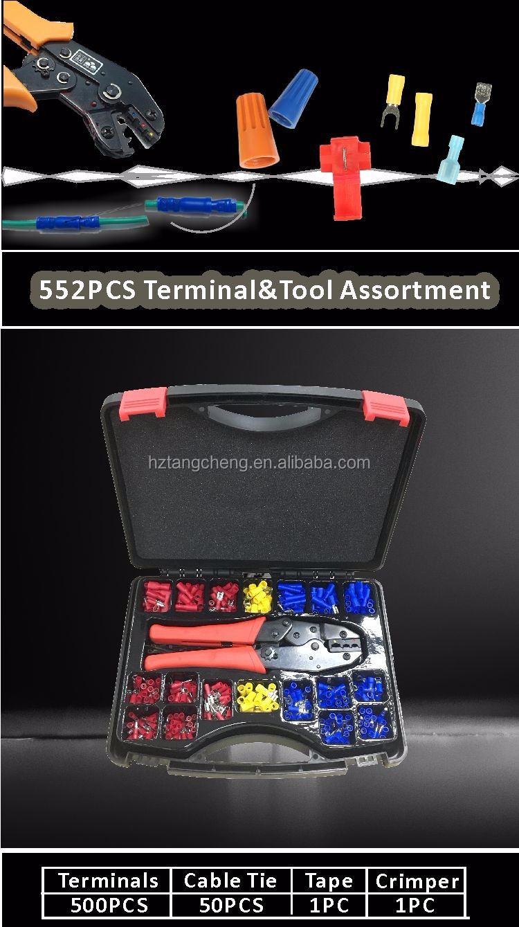 Electronical Connector Kit 552pc Crimper Tool Tape Cable Tie and Crimping Terminal Assortment