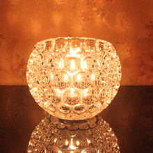 Hotsale votive crystal bead candle holders / wholeasale tealight container crystal candle jar