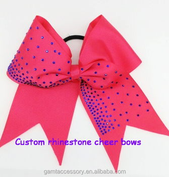 Custom Rhinestone Cheer Bows With Elastic Bands for hair accessories