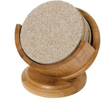 Thirstystone Pedestal Bamboo Drink Coaster Holder and 4 Coasters