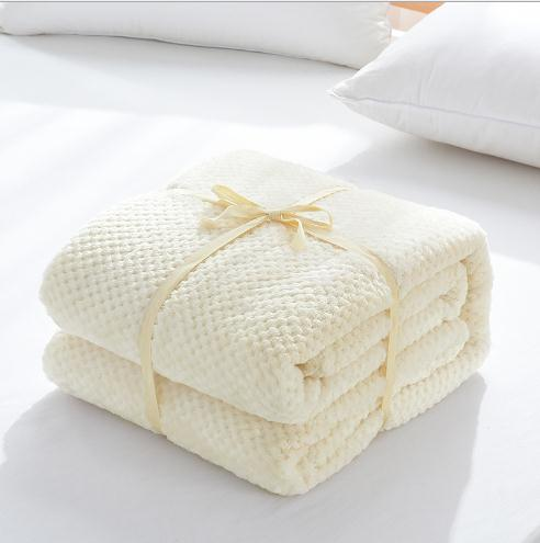 Super soft solid color plaid plush flannel coral waffle weave throw fleece blanket