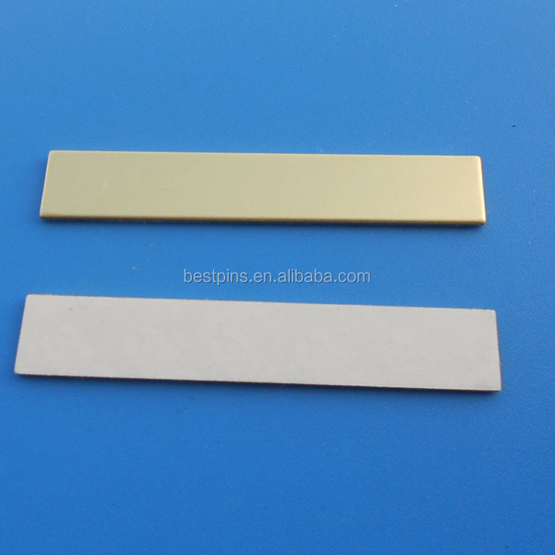 Gold Silver Rectangle Plain Blank Metal Plate Label with Laser Printing Custom Logo