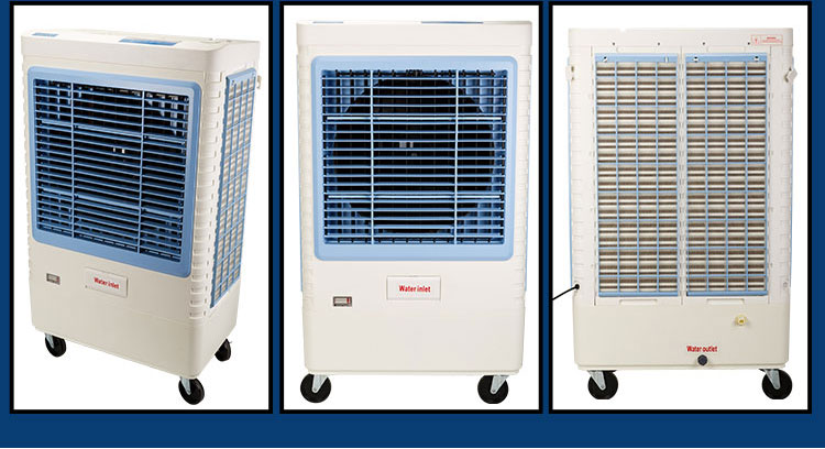 High grade green eco-friendly evengy saving air evaporative floor standing air cooler water less