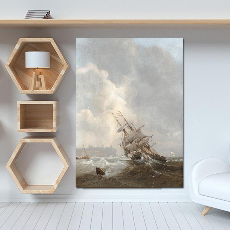 Kapal Layar Cetak Hujan Badai Seascape Lukisan Minyak Pada Kanvas