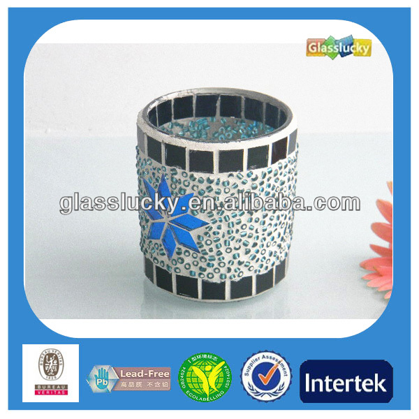 Unique Cylinder Mosaic Glass Candle Holder