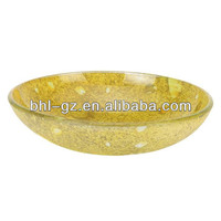 Bright pearl art marble bowl/ decorative hotel glass plate/ top quality modern ash glass ashtray BHL-P11