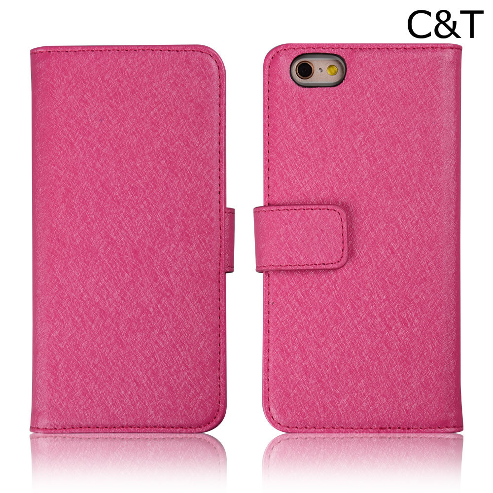 C&T Slim Folio Flip Faux Leather Cover with Credit Card slots Wallet Case for iPhone 6/6s