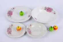 crockery cut edge cheap white porcelain dinner sets with big pink flowers