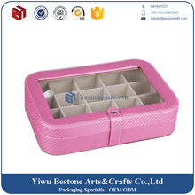 Durable handmade 20section pu leather jewelry case,leather earring cufflink jewelry display box