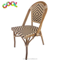Outdoor Garden Furniture Aluminum Bamboo Looking French Bistro Patio Wicker Rattan Chair