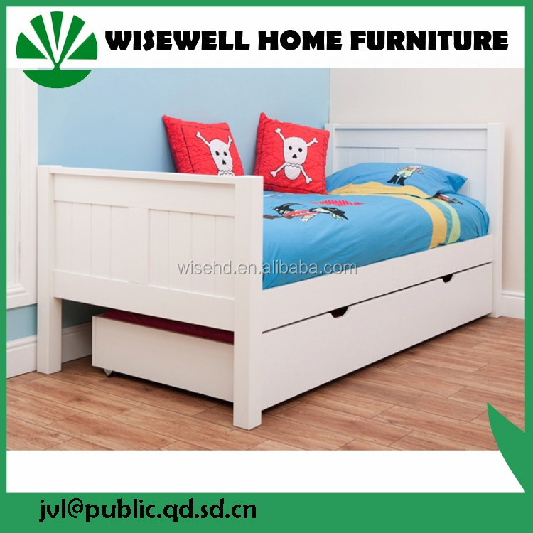 pine wood children bed with bookshelf and drawer