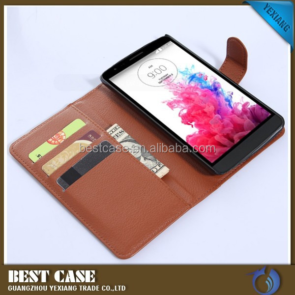 Fashion Litchi Pattern Lychee design Credit Card Wallet Stand Flip leather case for LG G3 Stylus D690 China wholesale