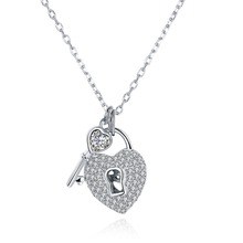 SJSVN056 Key and Lock Design 925 Sterling Silver Love Heart Jewelry Delicate Meaningful Pendant Necklace For Women's Accessory