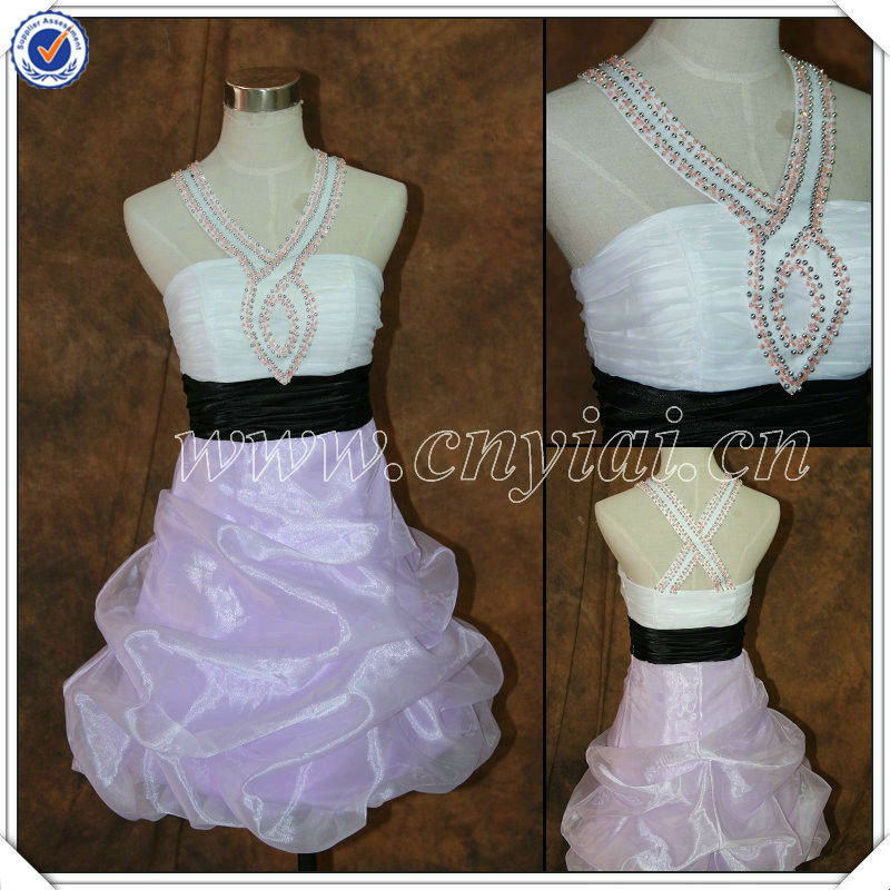 PP2576 Beaded Halter Organza Purple Real Sample Short Prom Dress 2014